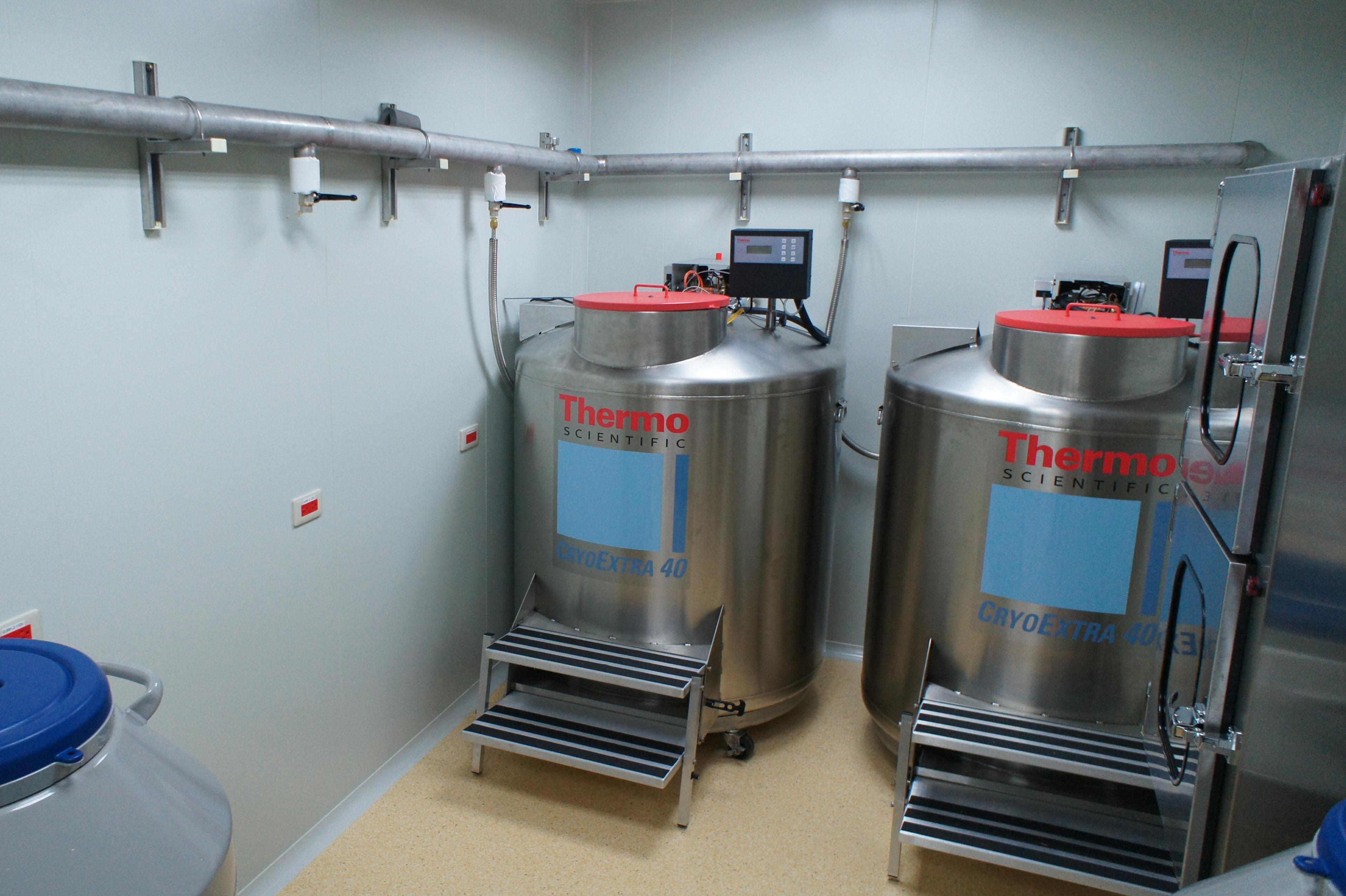 長新生醫位於中國附醫復健大樓7樓的GTP實驗室內的液態氮細胞儲存桶