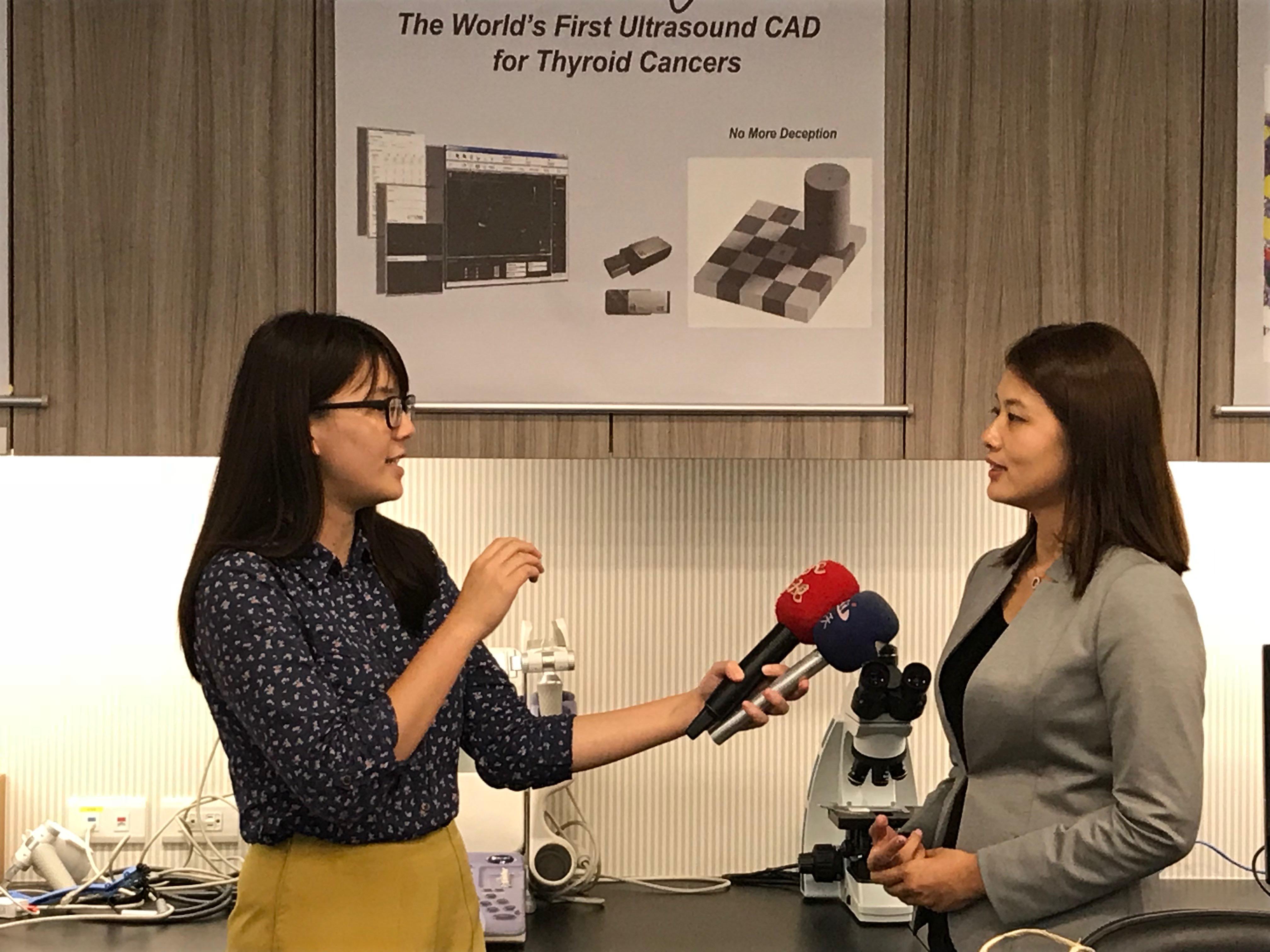 媒體採訪:美吾華‧懷特‧安克生技集團李伊俐執行董事接受媒體採訪「呼吸中止症超音波電腦輔助診斷裝置  (AmCAD-UO) 」