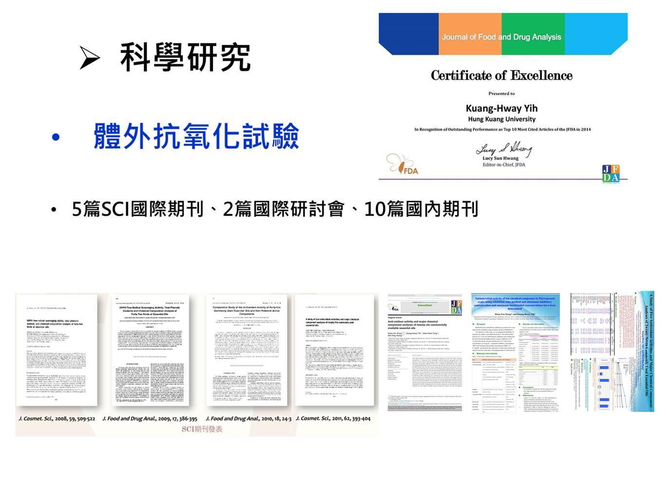 已發表5篇國際期刊,於J. Cosmetic Sci.、J. Food Drug Anal.國際SCI期刊,刊載於J. Food Drug Anal.的論文於2014年亦獲得TOP 10引用次數第3名