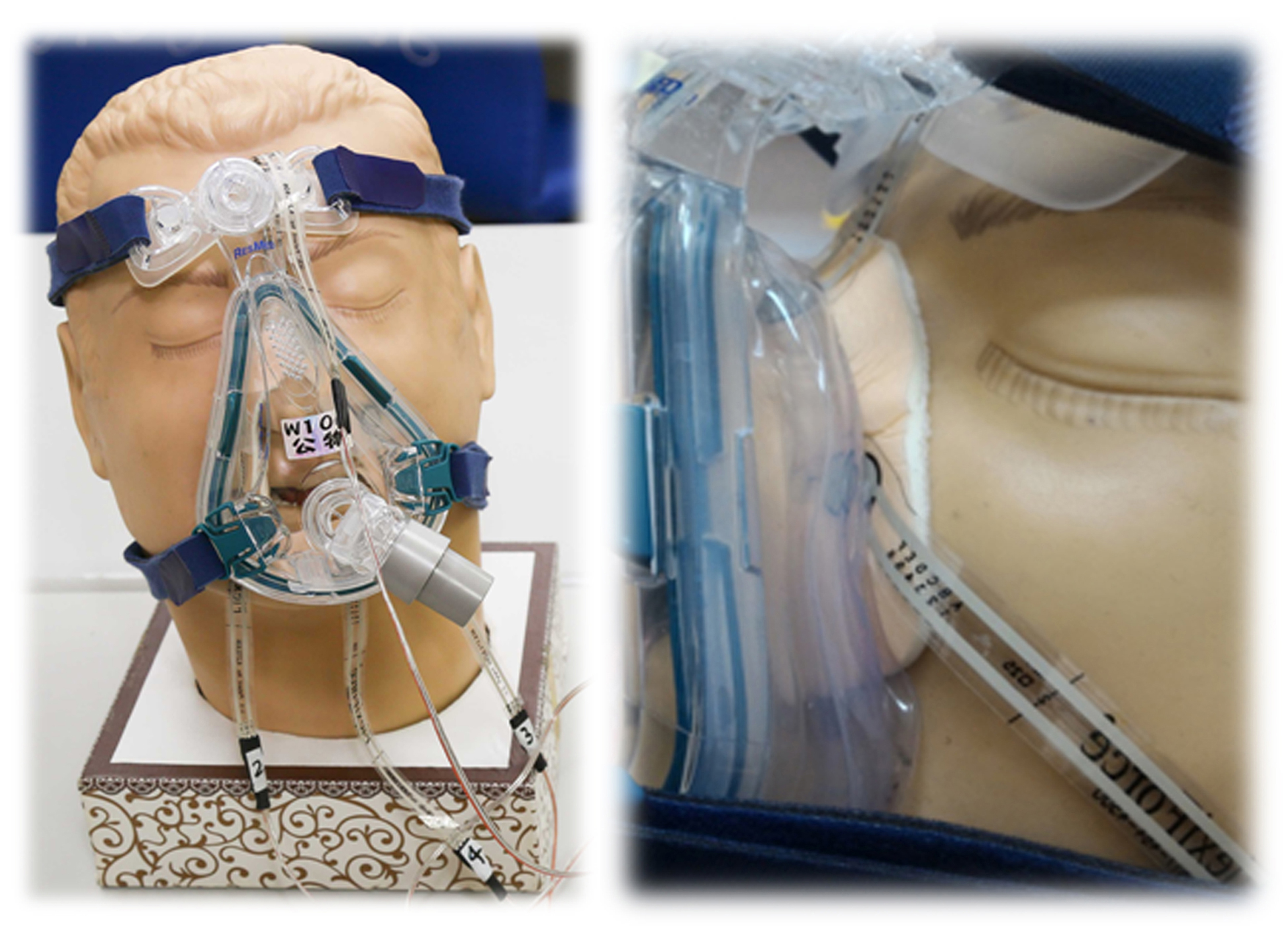呼吸面罩皮膚壓力感測點放置示意圖(四點)及單點放大圖