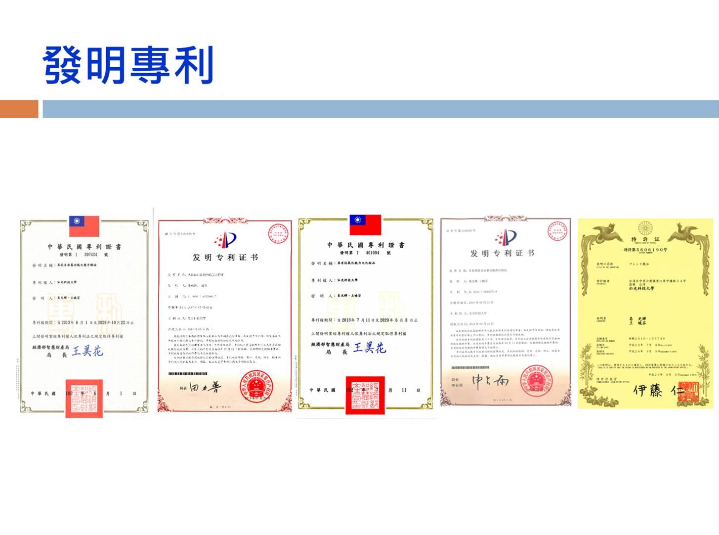 迄今已獲得台灣、日本與中國的發明專利,其衍生的「具有清除人體自由基功能的化妝品配方」亦已獲得台灣與中國的發明專利
