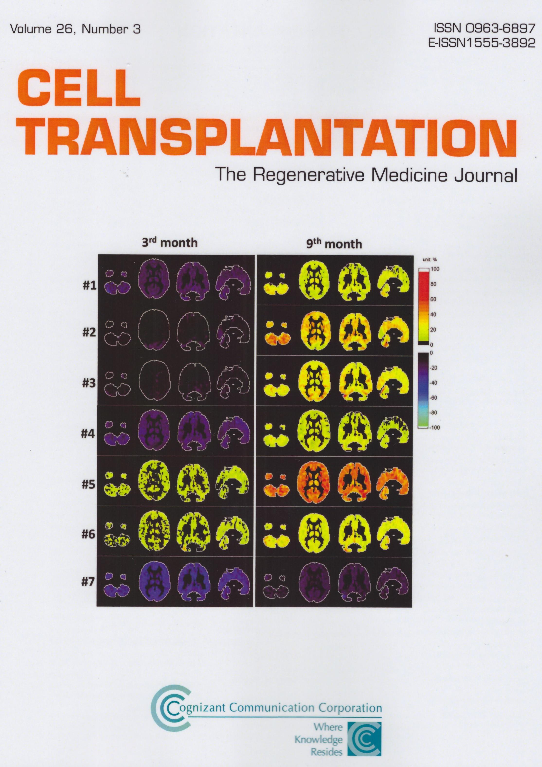 第一期幹細胞治療試驗成果獲選為Cell Transplantation雜誌封面圖片