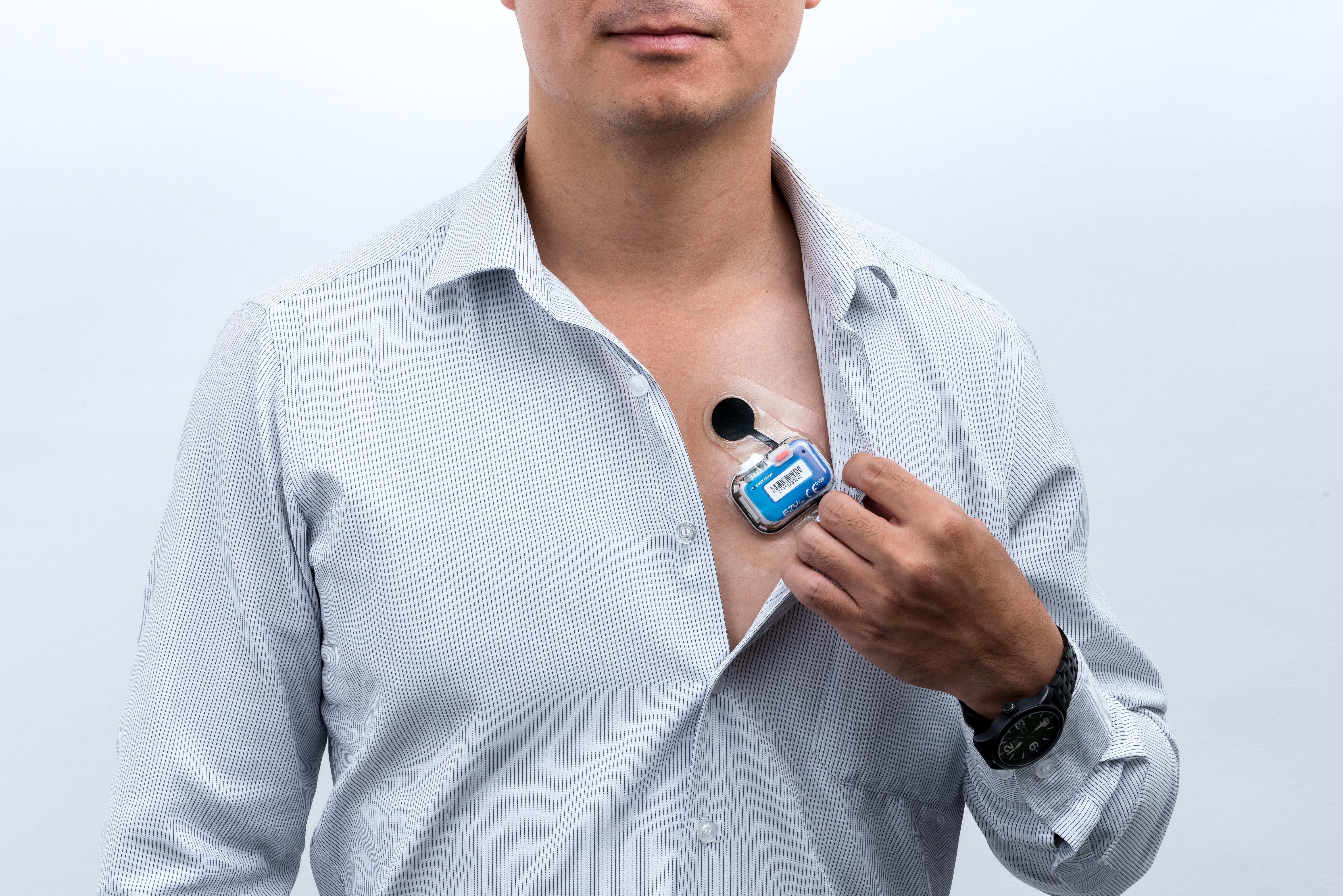 EZYPRO®心電記錄貼片防水、抗汗、低敏,醫學中心臨床實證,透過長天期心電訊號記錄與分析,能顯著提高心律不整診斷率3-5倍,達到60%