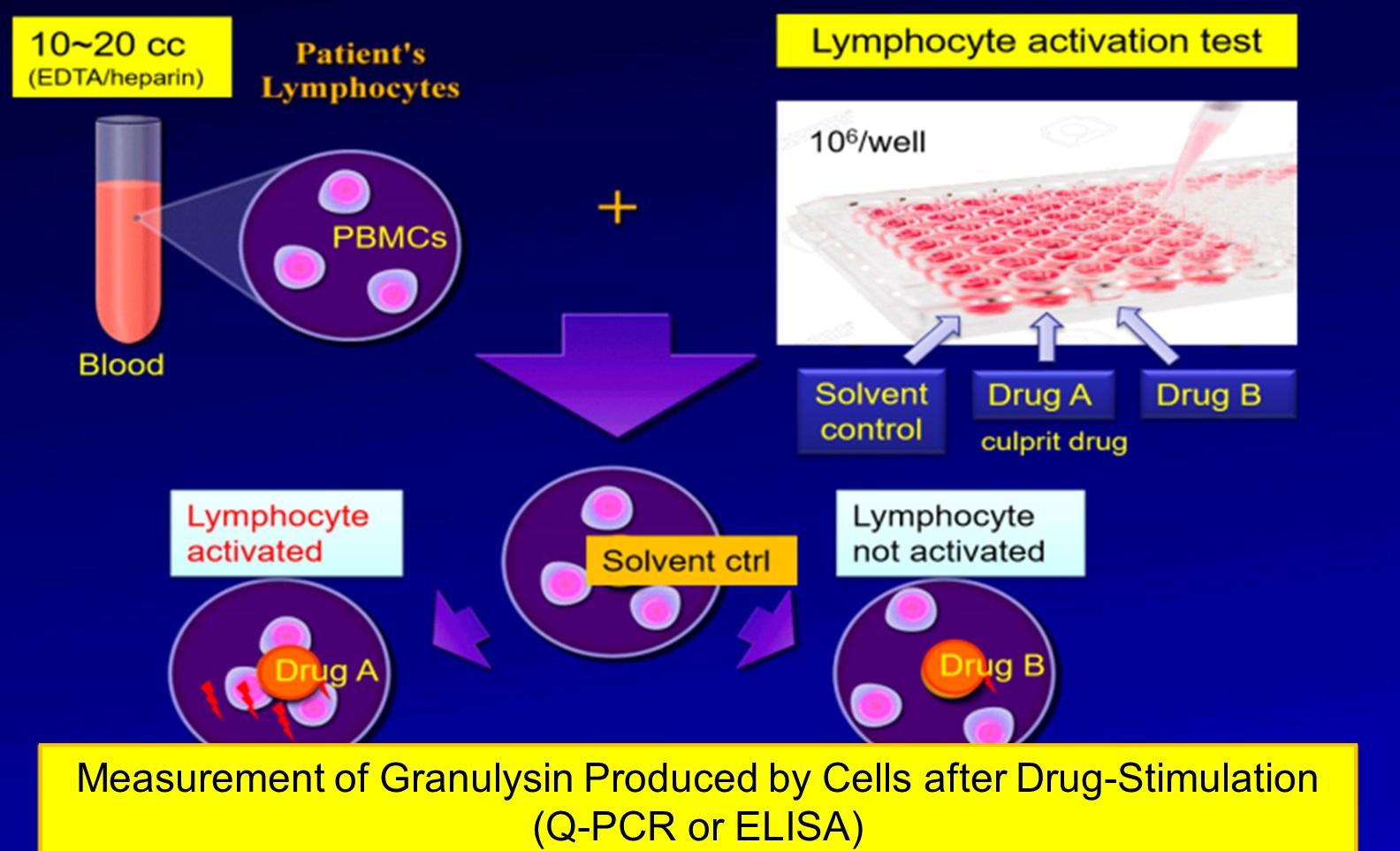 鑑定藥物過敏反應之致敏藥物的技術原理流程圖