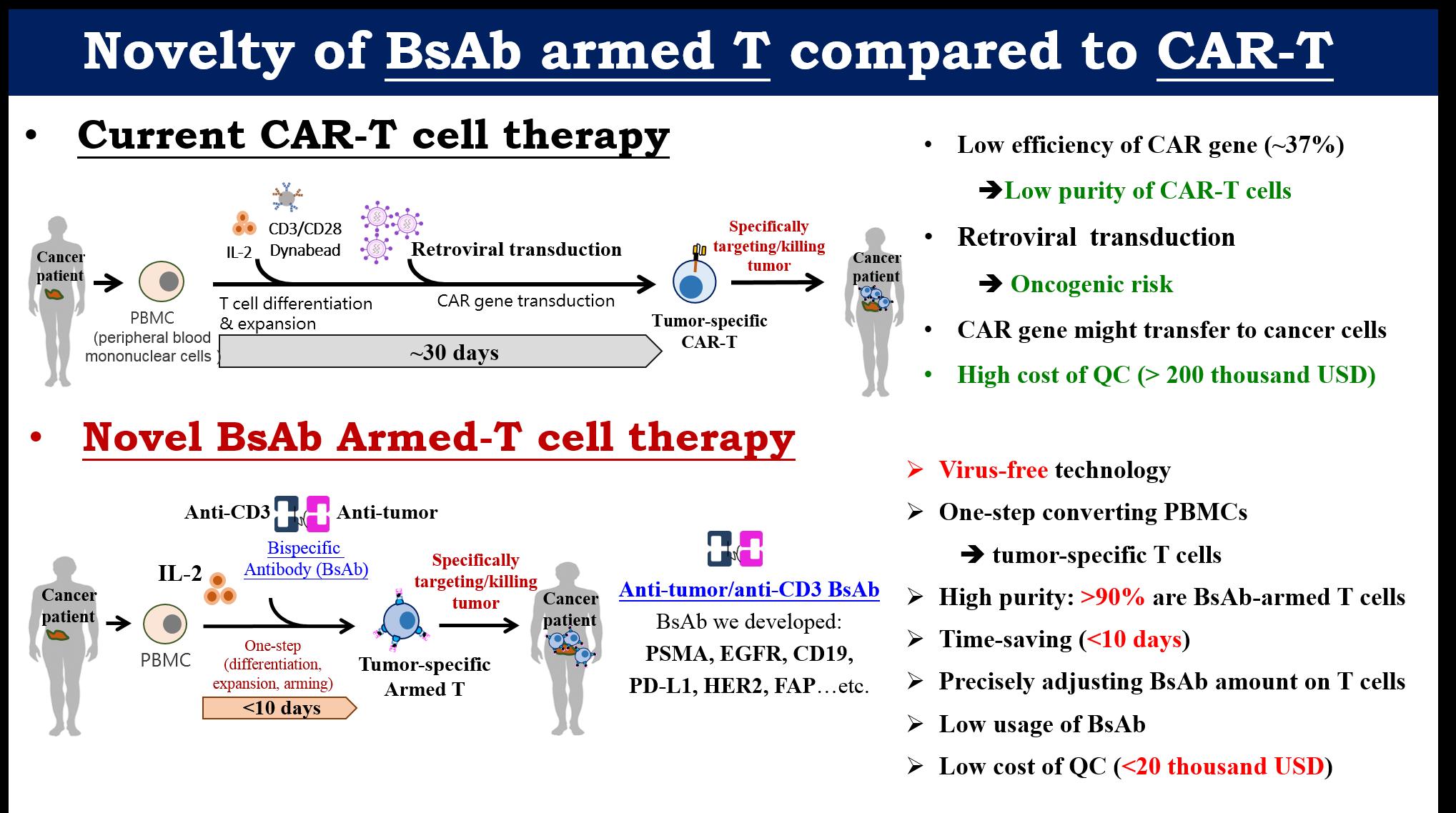 本雙功能抗體(BsAb)培育腫瘤專一性T細胞之技術平台,與臨床CAR-T細胞治療之比較