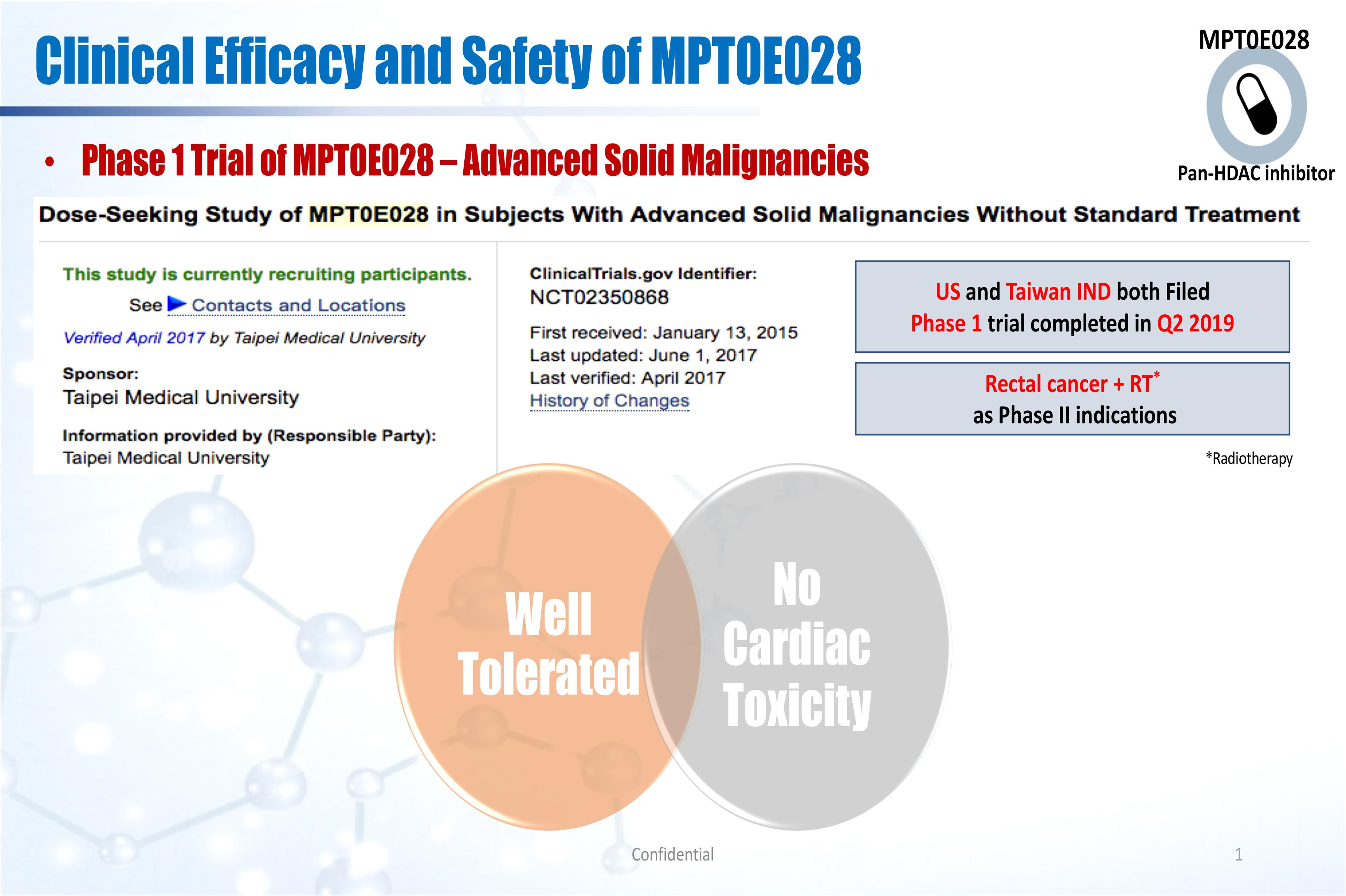 MPT0E028於第一期臨床試驗之效果與安全性