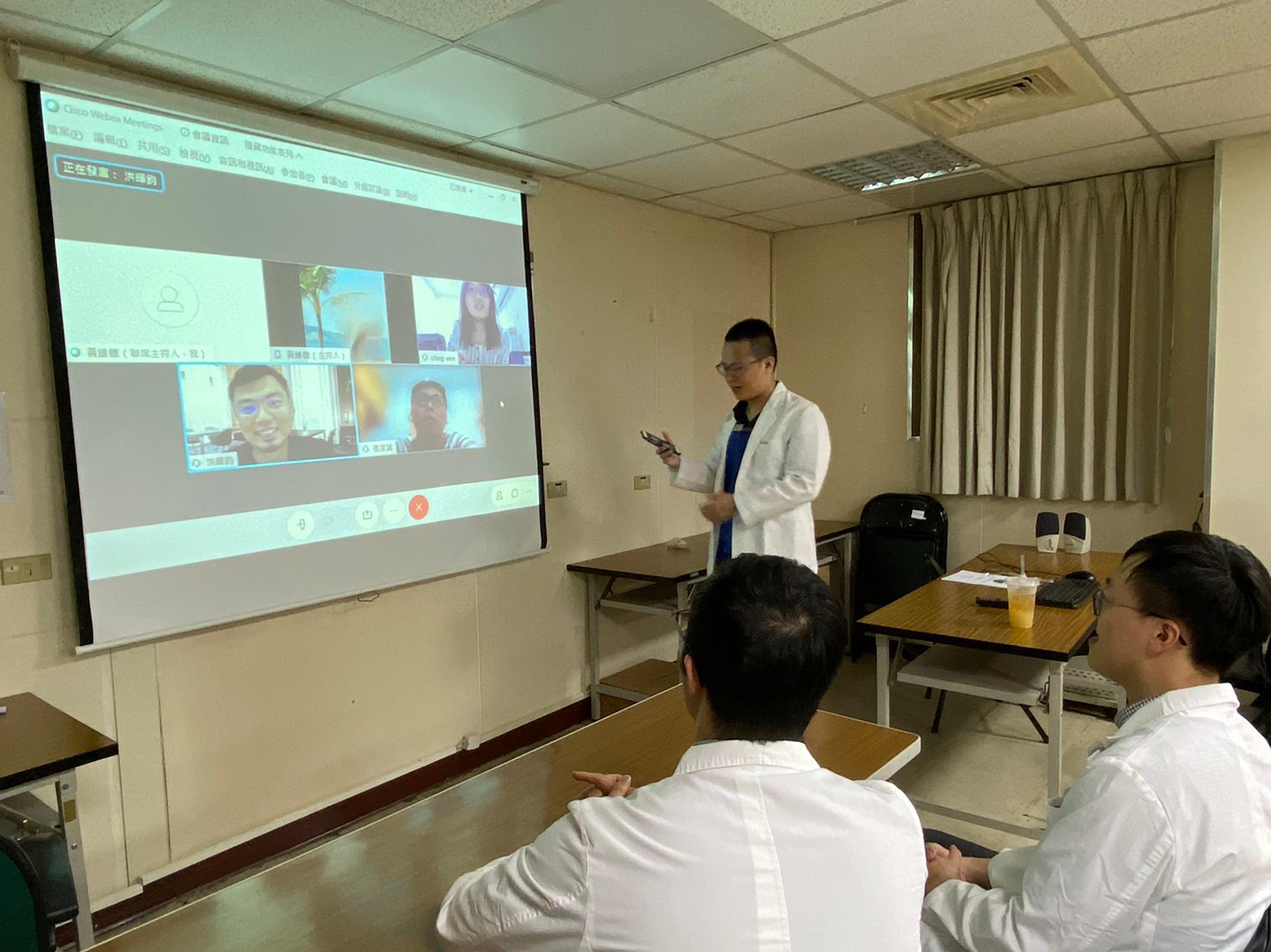 研發照片1_系統規劃會議:中國醫藥大學團隊與臺北醫學大學團隊視訊會議,討論系統規劃、資料萃取、資料清理、資料串連