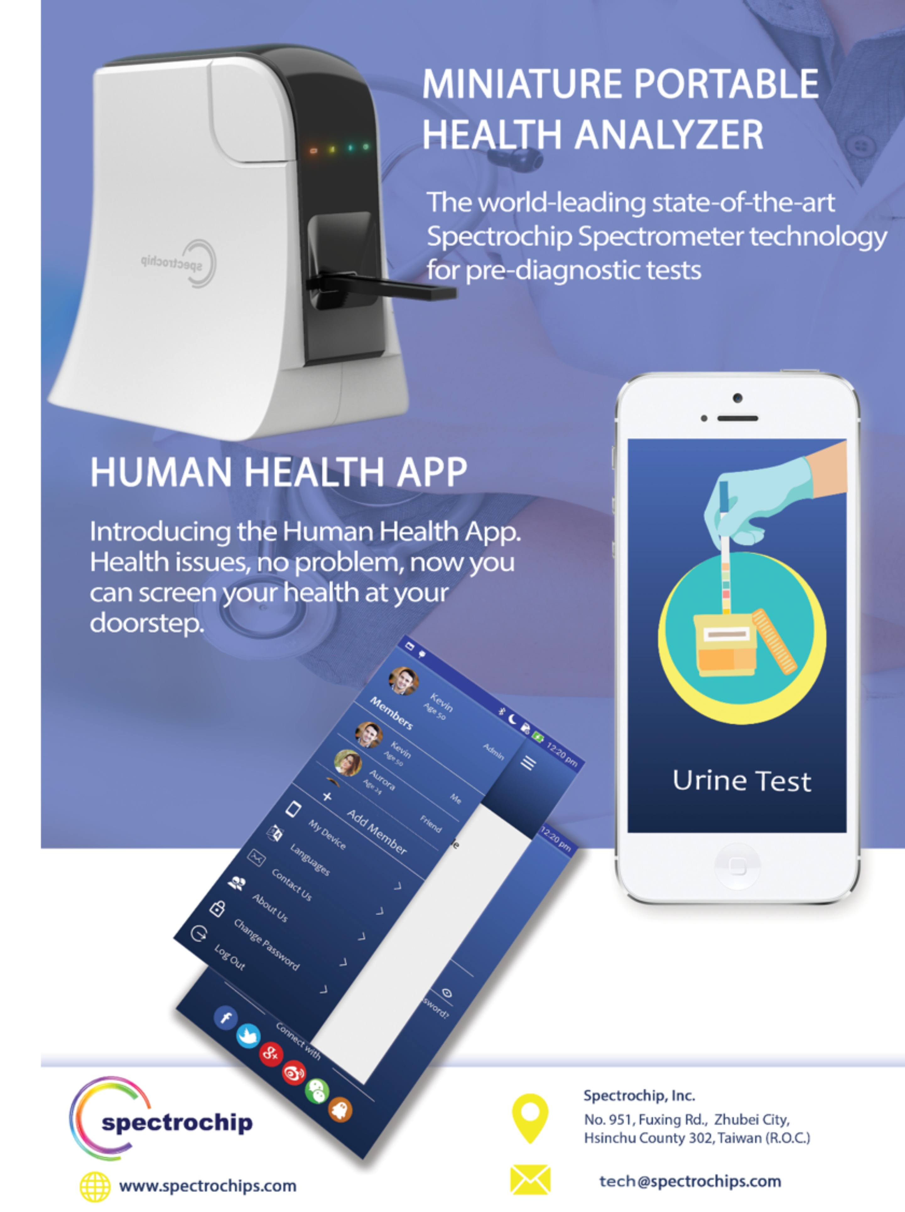 多功能微型光譜儀可使用APP連結智慧型手機達到個人健康管理的作用