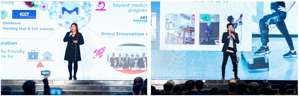 圖左:台灣默克余文慧總經理分享深耕台灣、投入在地新創。圖右:福寶科技巫震華執行長分享企業困境重生的歷煉。